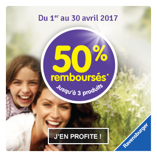 50% remboursés jusqu'à 3 produits Ravensburger